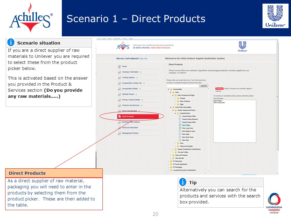 Scenario 1 – Direct Products