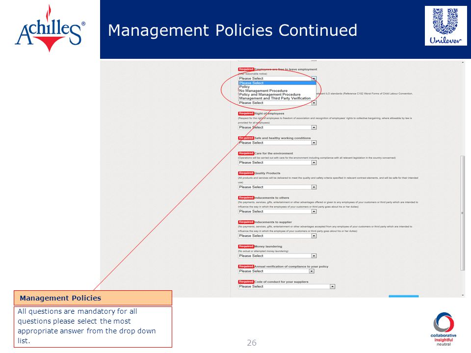 Management Policies Continued