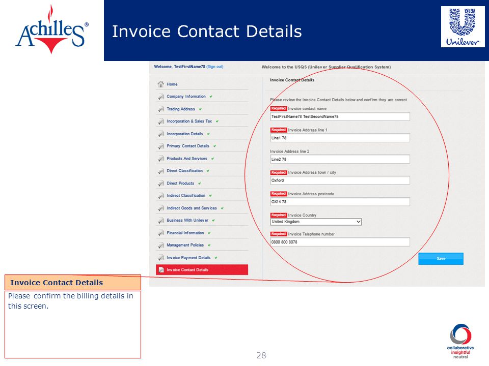Invoice Contact Details
