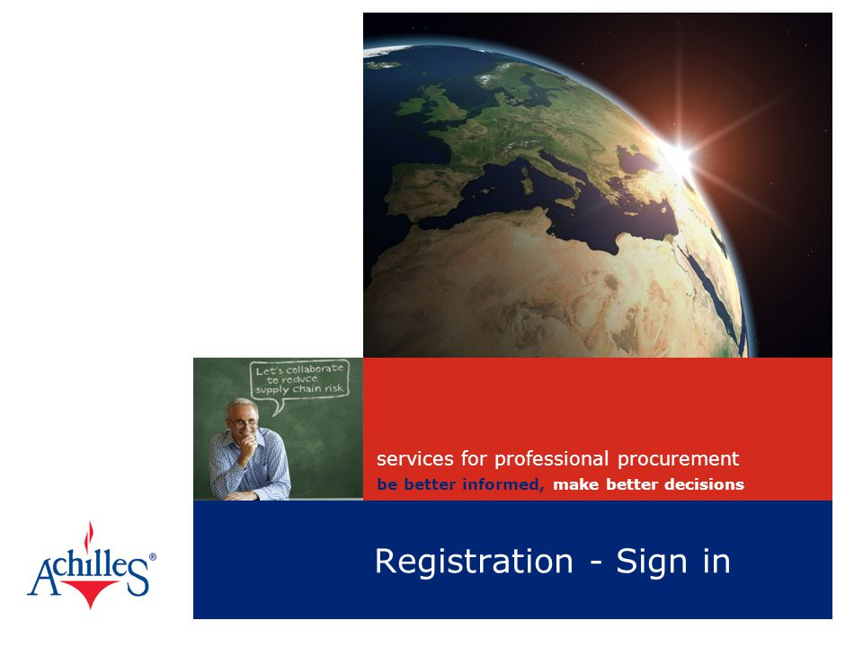 Registration - Sign in services for professional procurement