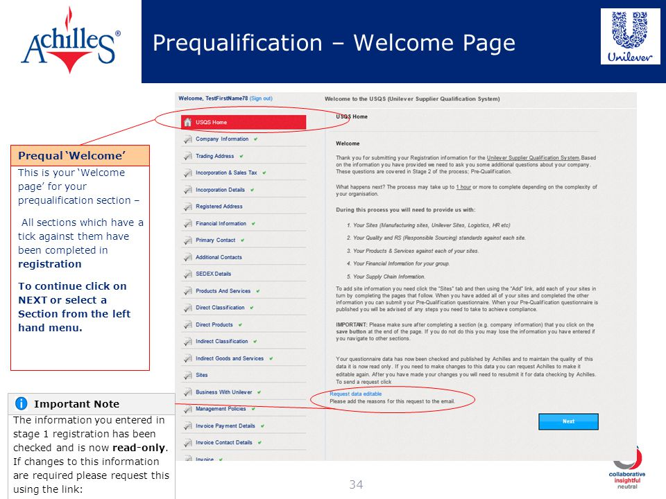 Prequalification – Welcome Page