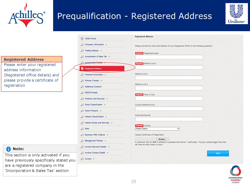 Prequalification - Registered Address