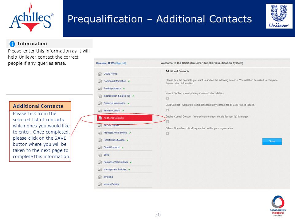 Prequalification – Additional Contacts