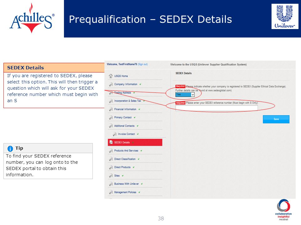 Prequalification – SEDEX Details