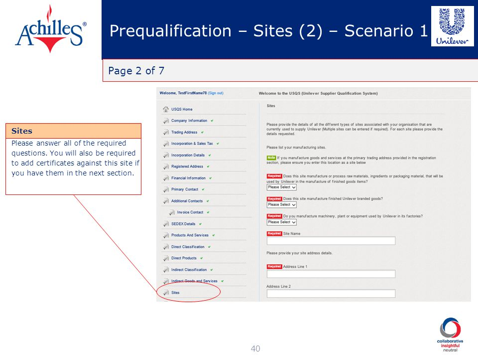 Prequalification – Sites (2) – Scenario 1