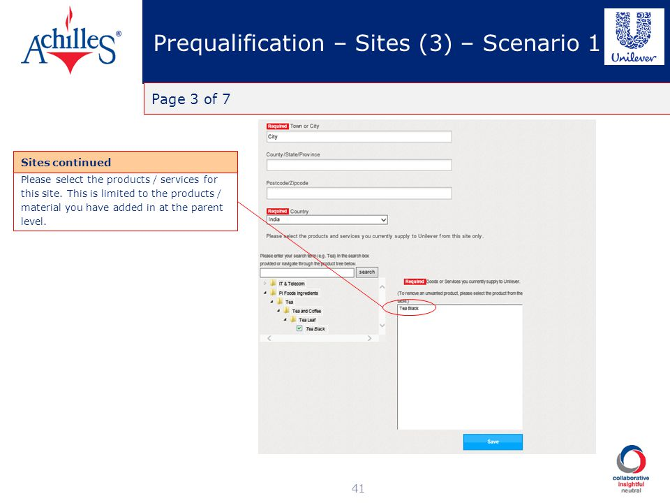 Prequalification – Sites (3) – Scenario 1