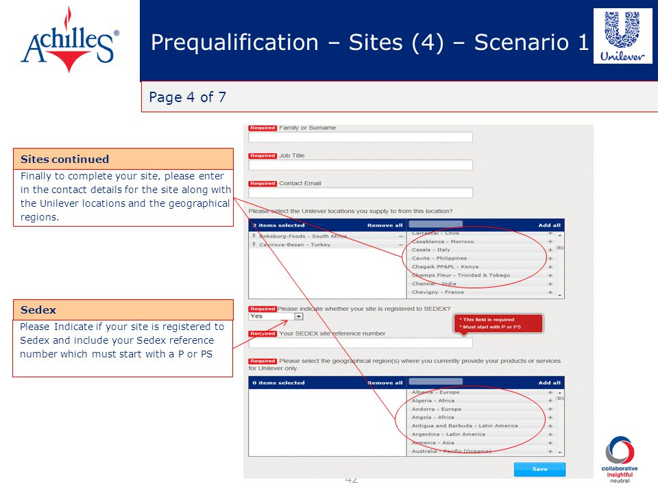 Prequalification – Sites (4) – Scenario 1