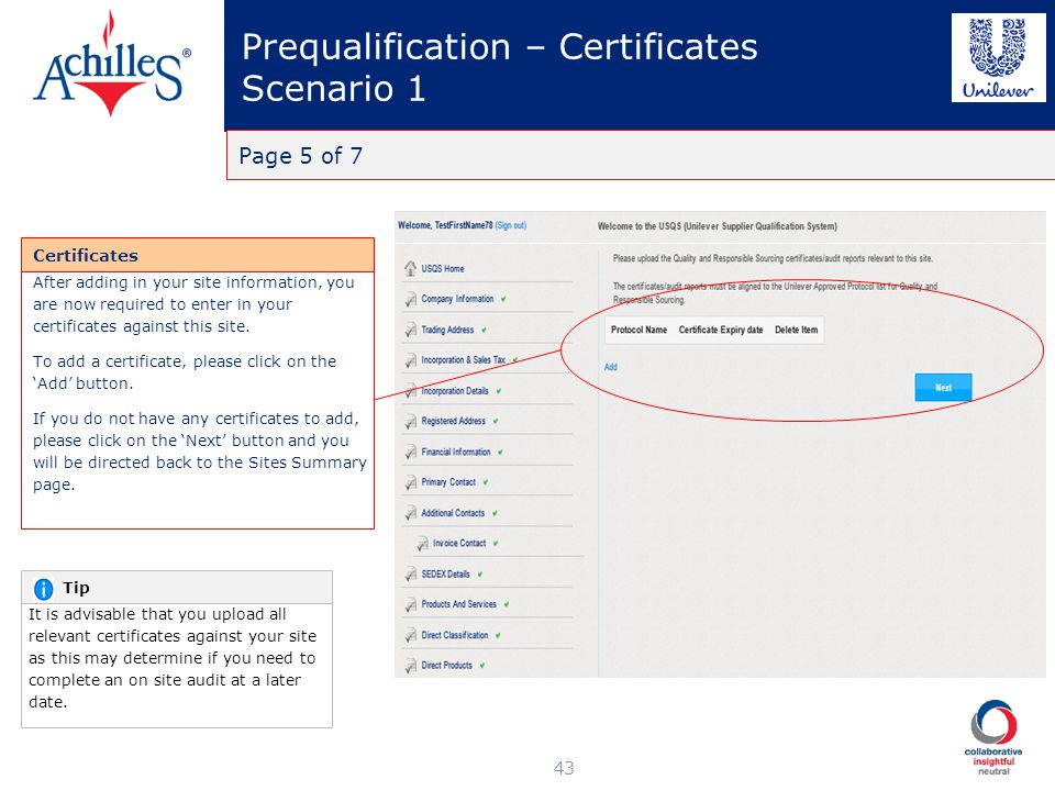 Prequalification – Certificates Scenario 1