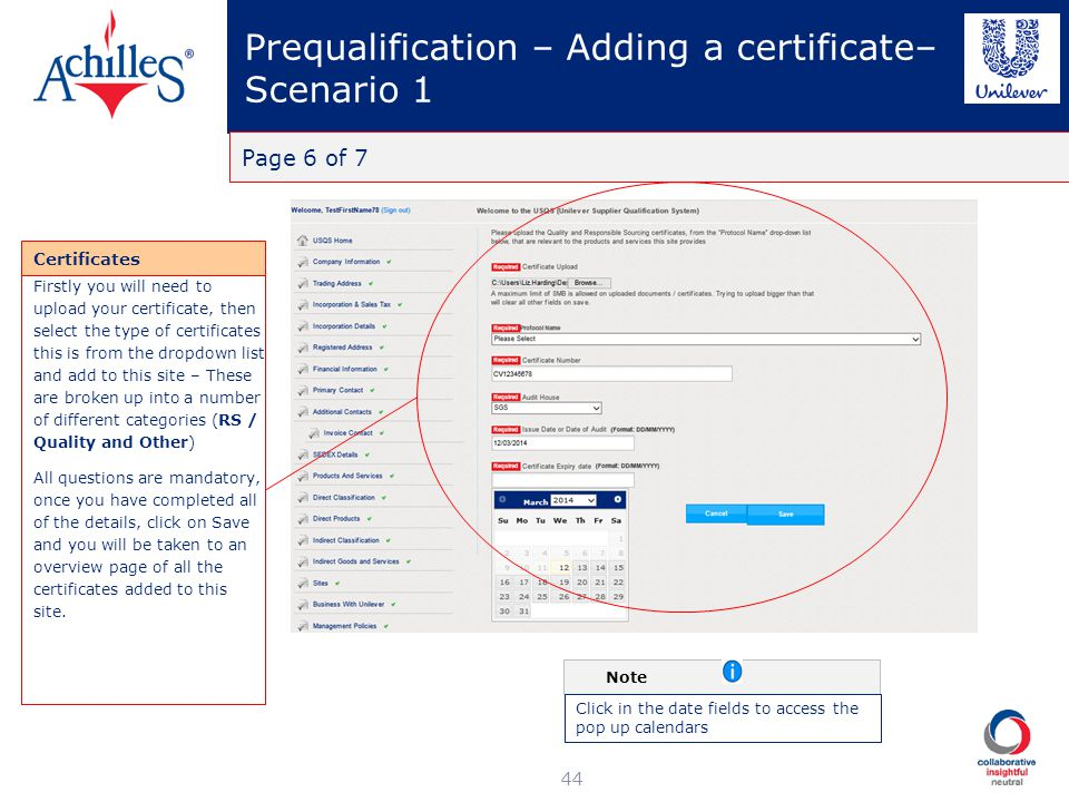 Prequalification – Adding a certificate– Scenario 1