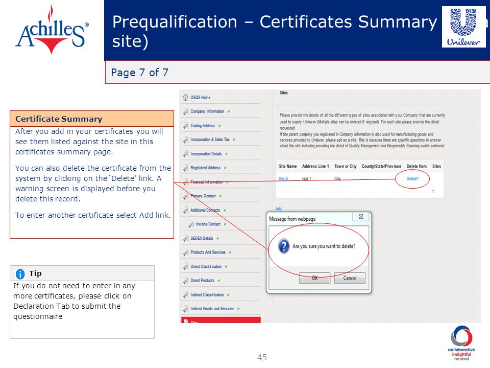 Prequalification – Certificates Summary (for a site)