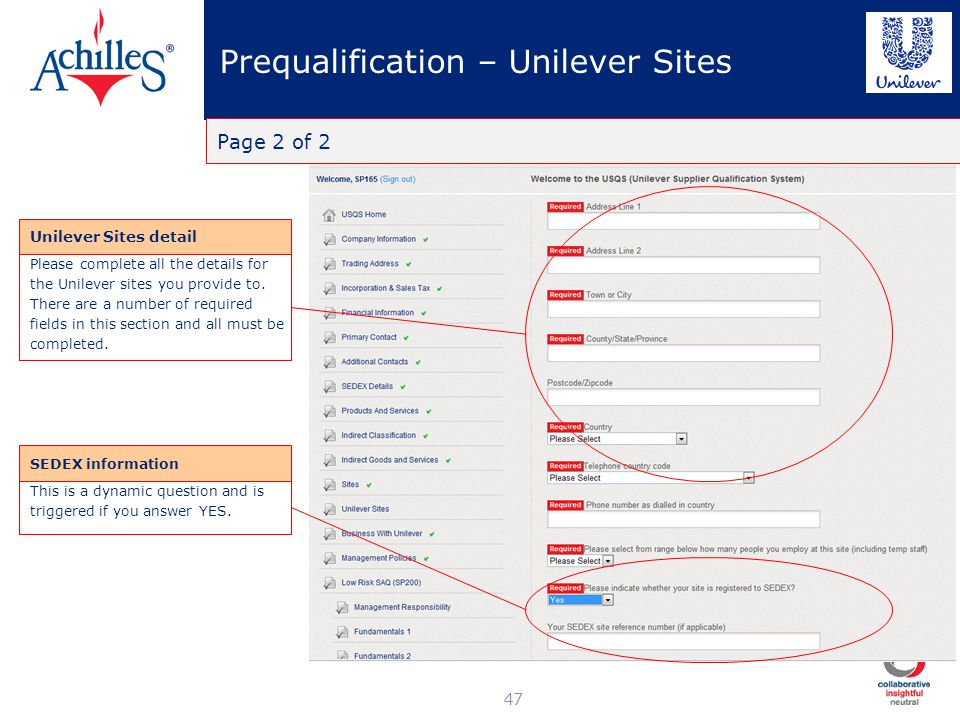 Prequalification – Unilever Sites