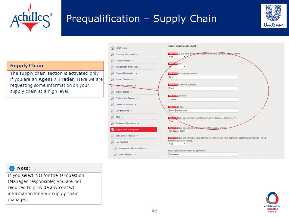 Prequalification – Supply Chain