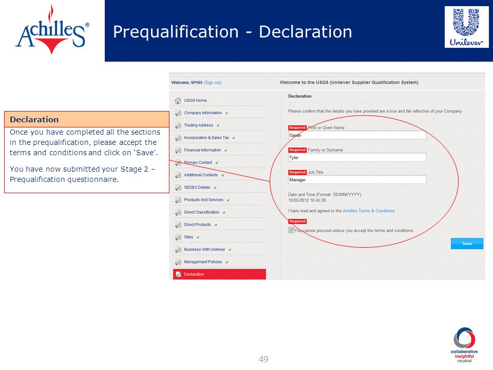 Prequalification - Declaration