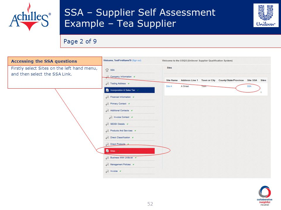 SSA – Supplier Self Assessment Example – Tea Supplier