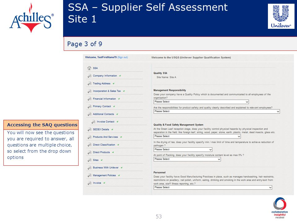 SSA – Supplier Self Assessment Site 1