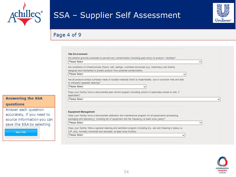 SSA – Supplier Self Assessment