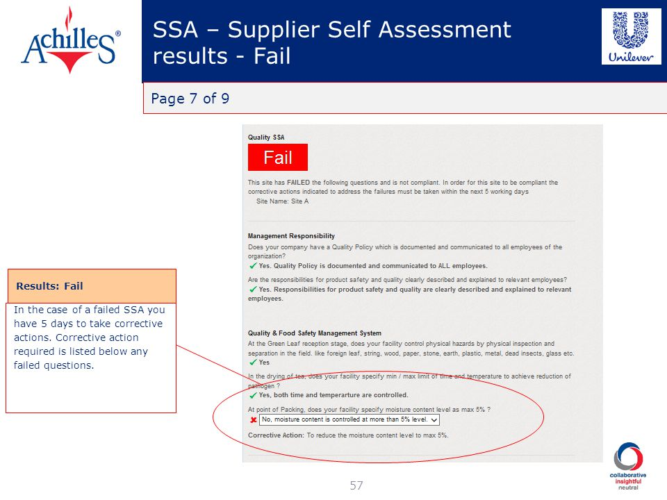 SSA – Supplier Self Assessment results - Fail