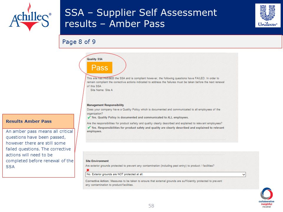 SSA – Supplier Self Assessment results – Amber Pass
