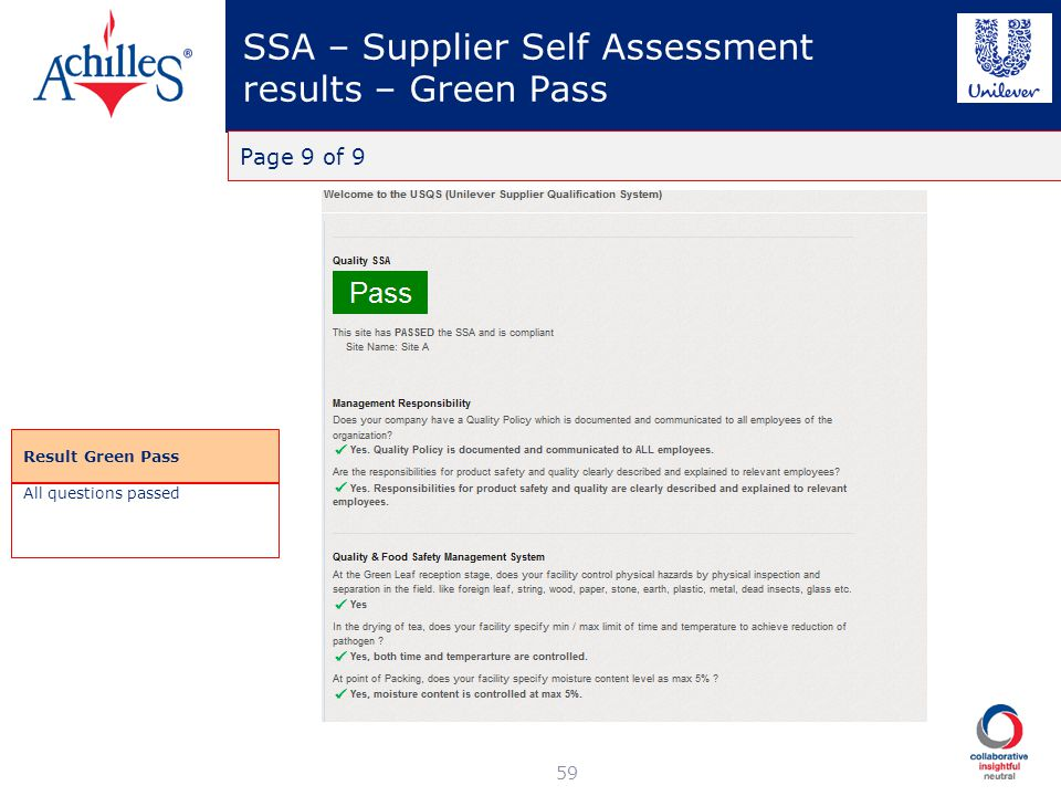 SSA – Supplier Self Assessment results – Green Pass
