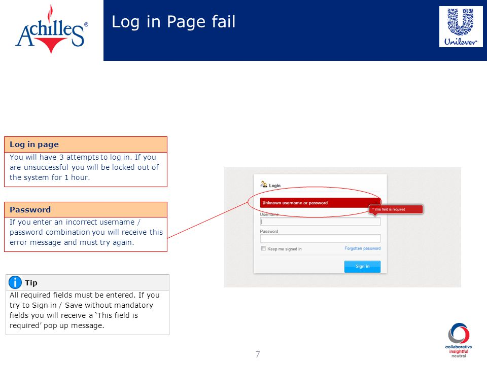 Log in Page fail Log in page Password