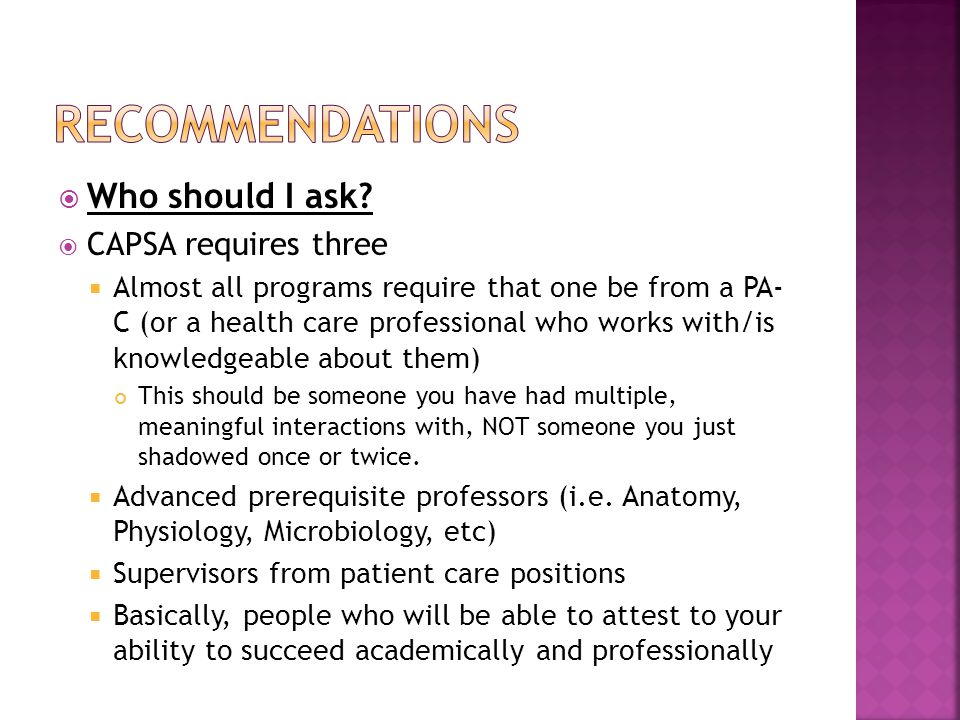 recommendations Who should I ask CAPSA requires three
