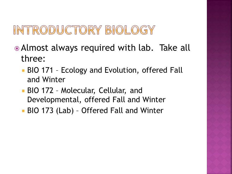 Introductory biology Almost always required with lab. Take all three: