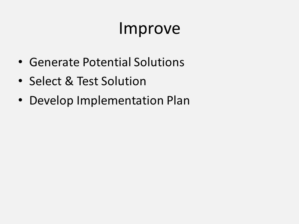Improve Generate Potential Solutions Select & Test Solution