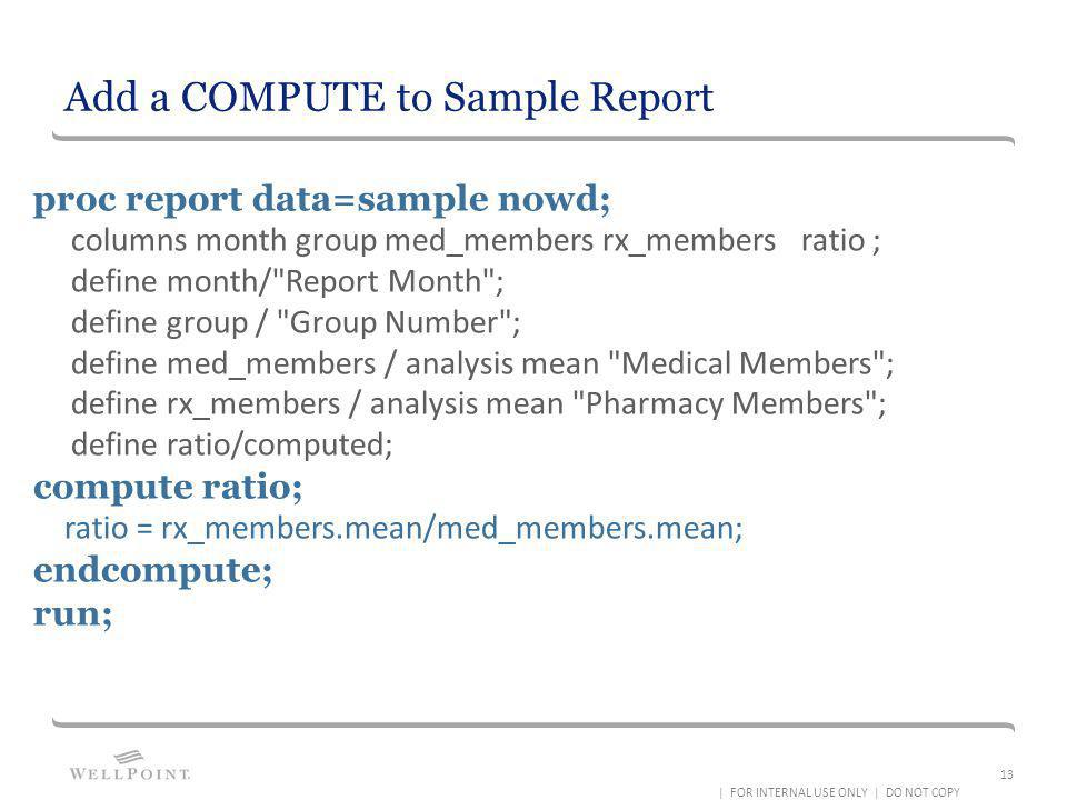 Add a COMPUTE to Sample Report