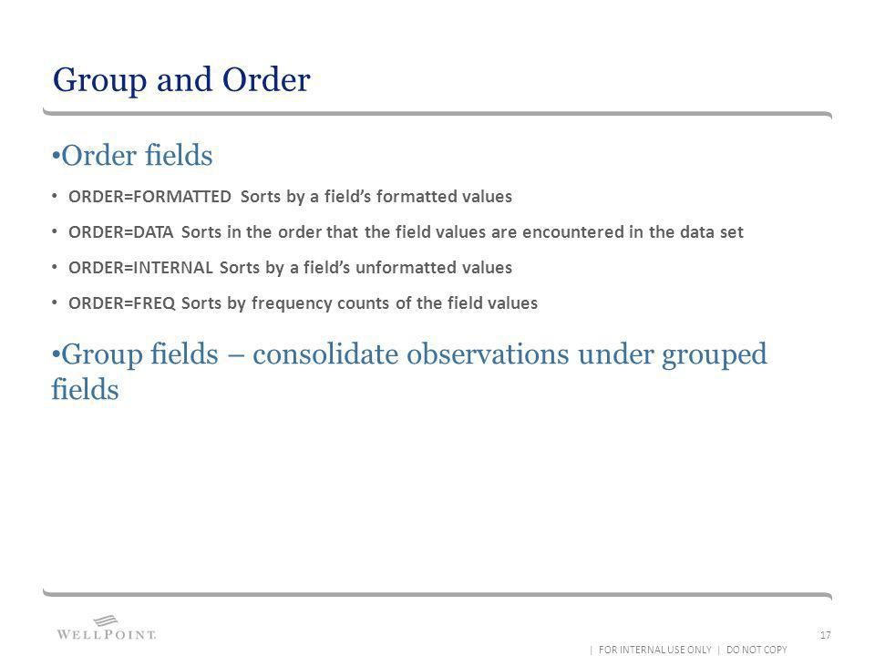 Group and Order Order fields