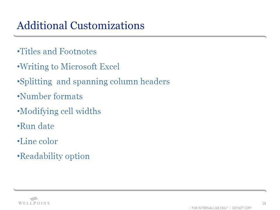 Additional Customizations