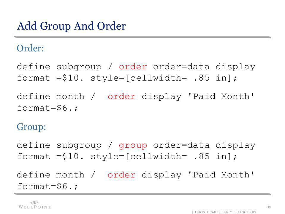 Add Group And Order