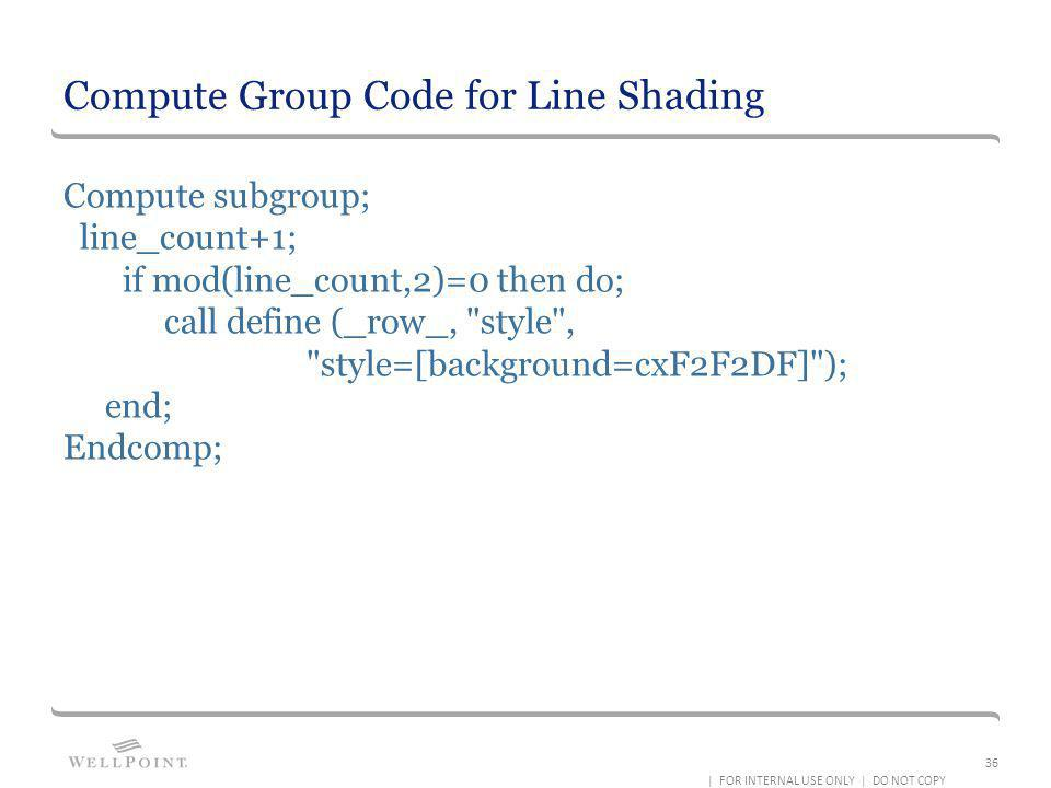 Compute Group Code for Line Shading