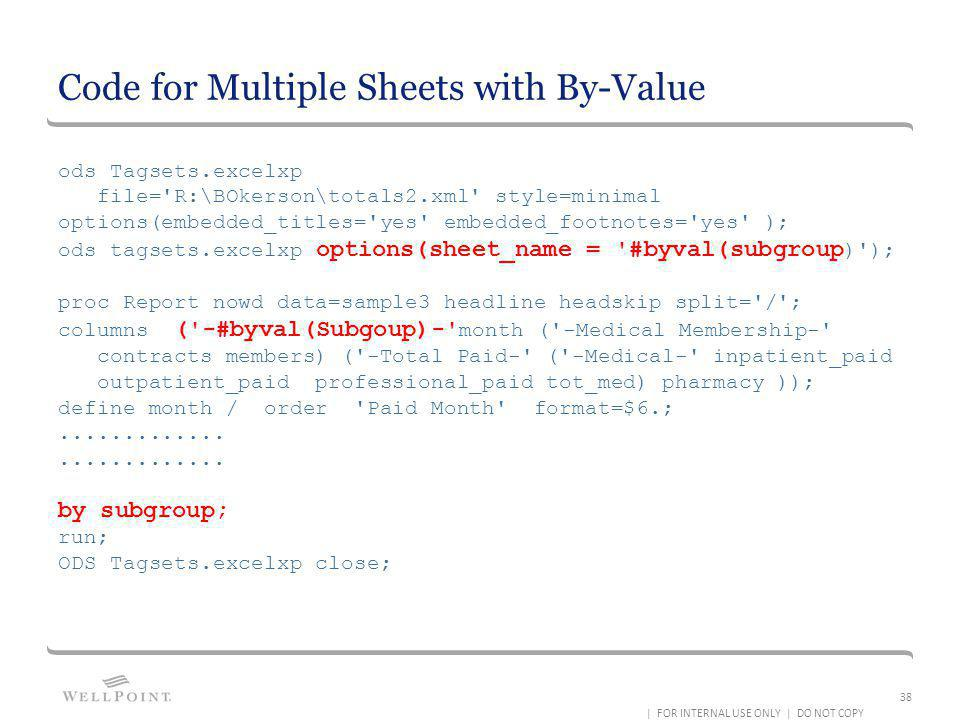 Code for Multiple Sheets with By-Value