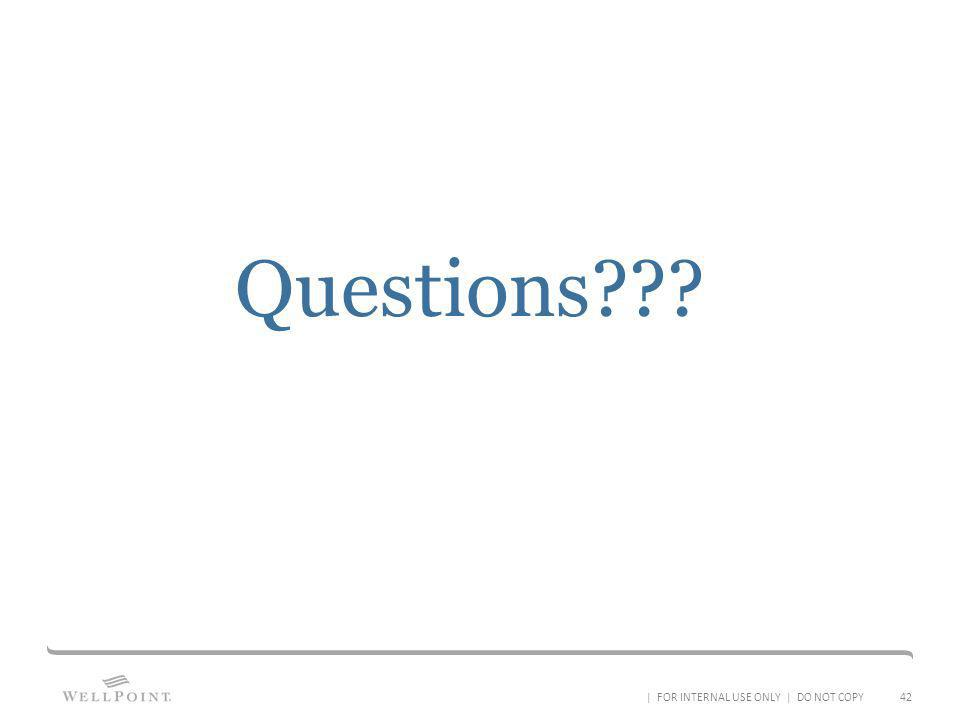 Questions | FOR INTERNAL USE ONLY | DO NOT COPY