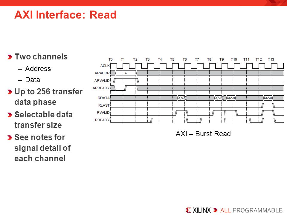 AXI Interface: Read Two channels Up to 256 transfer data phase