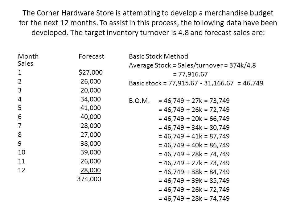 The Corner Hardware Store is attempting to develop a merchandise budget for the next 12 months. To assist in this process, the following data have been developed. The target inventory turnover is 4.8 and forecast sales are: