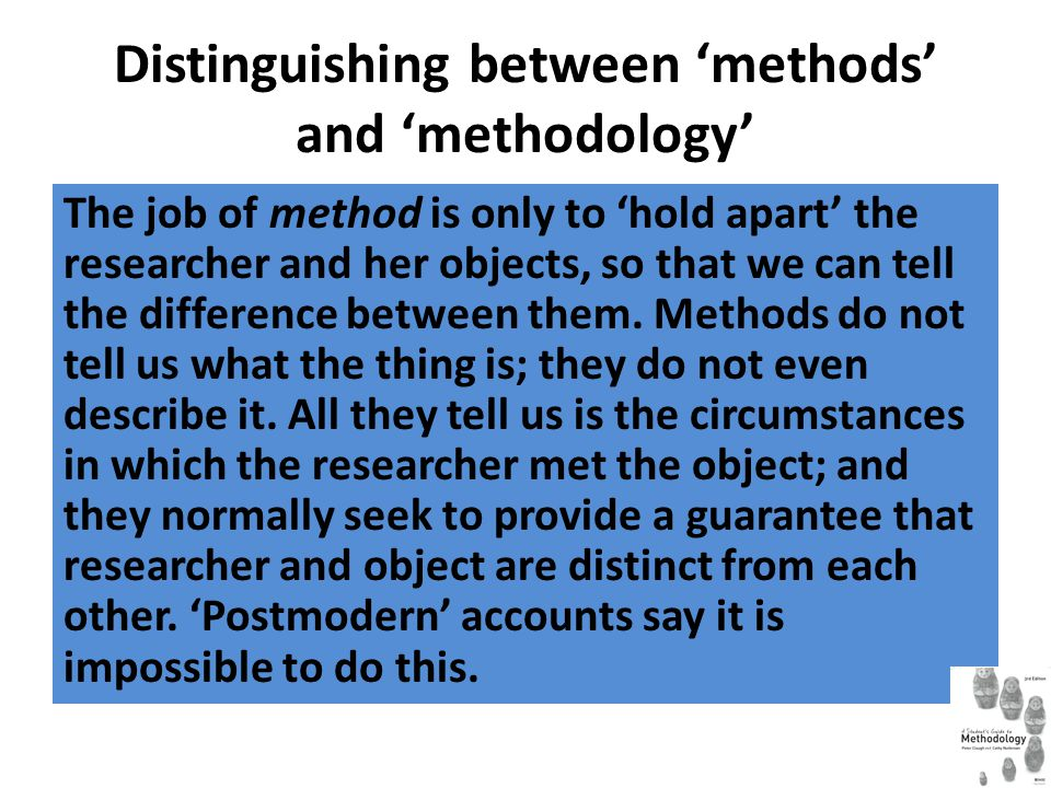 Distinguishing between 'methods' and 'methodology'