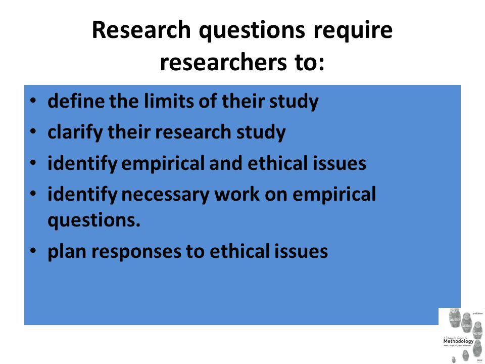 Research questions require researchers to: