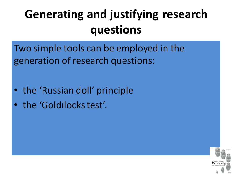 Generating and justifying research questions