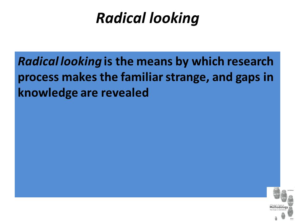 Radical looking Radical looking is the means by which research process makes the familiar strange, and gaps in knowledge are revealed.