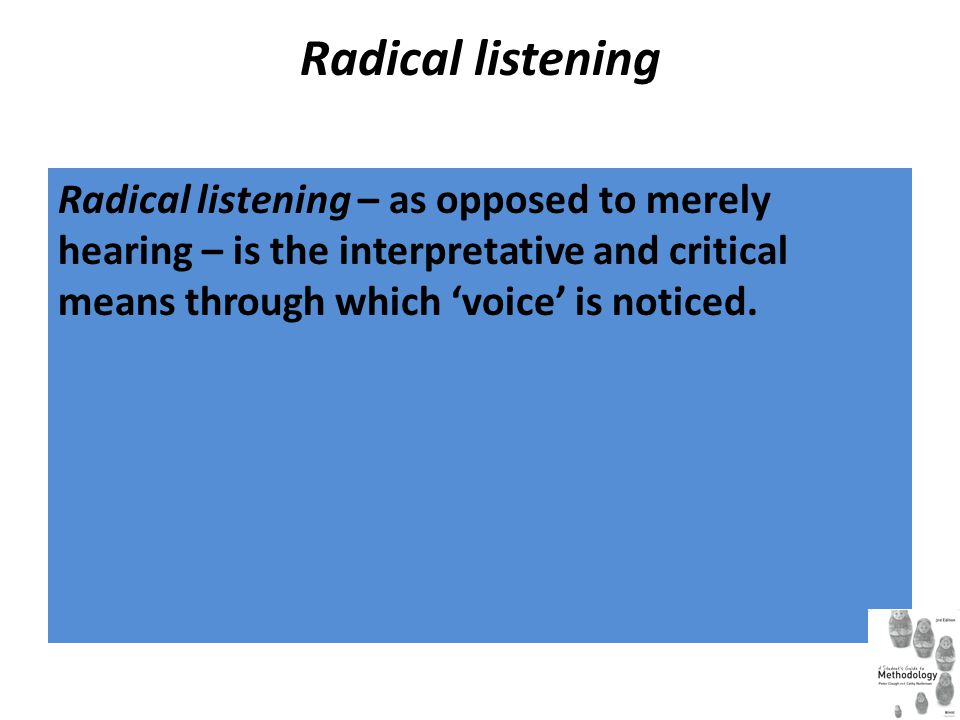 Radical listening Radical listening – as opposed to merely hearing – is the interpretative and critical means through which 'voice' is noticed.