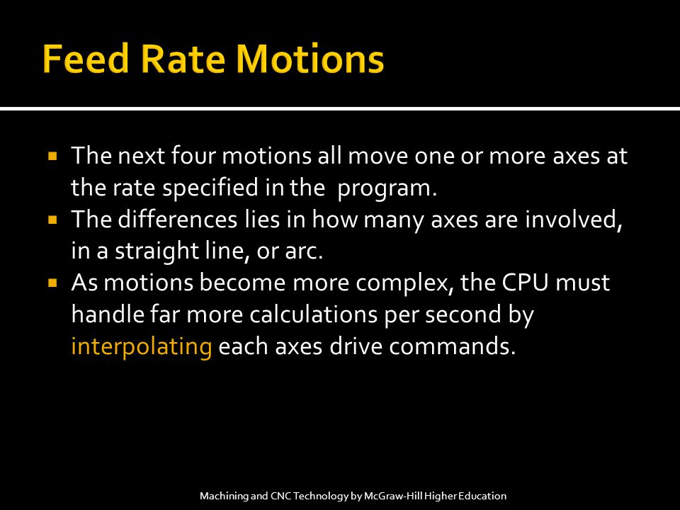 Feed Rate Motions The next four motions all move one or more axes at the rate specified in the program.