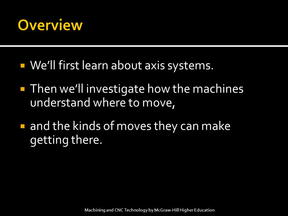 Overview We'll first learn about axis systems.