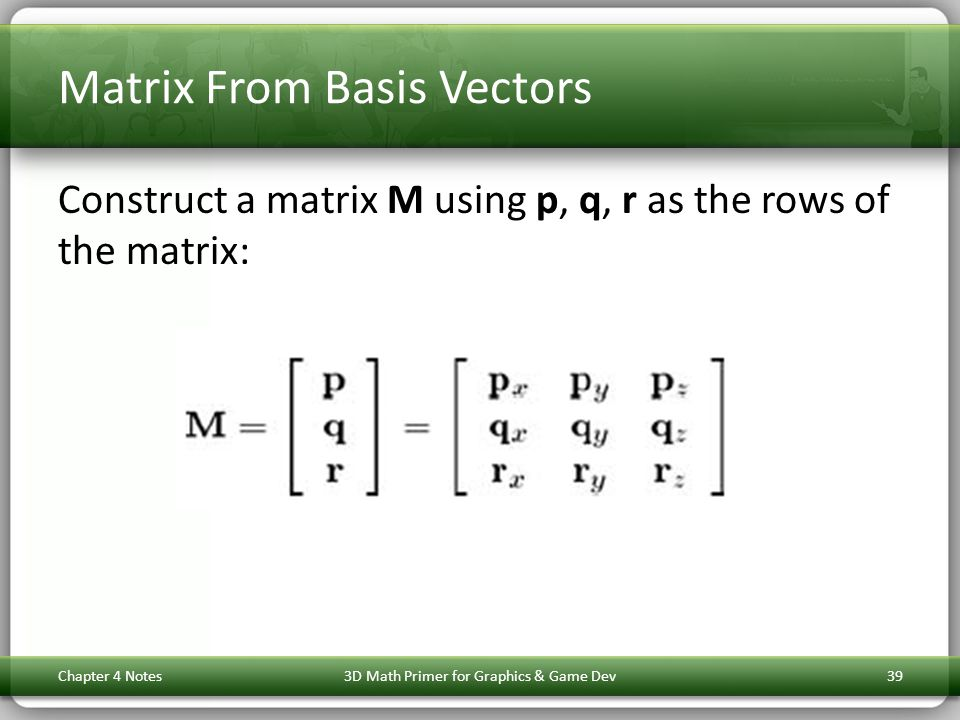 Matrix From Basis Vectors