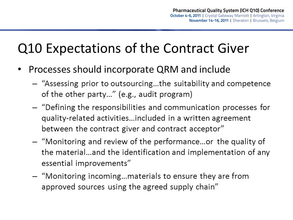 Q10 Expectations of the Contract Giver