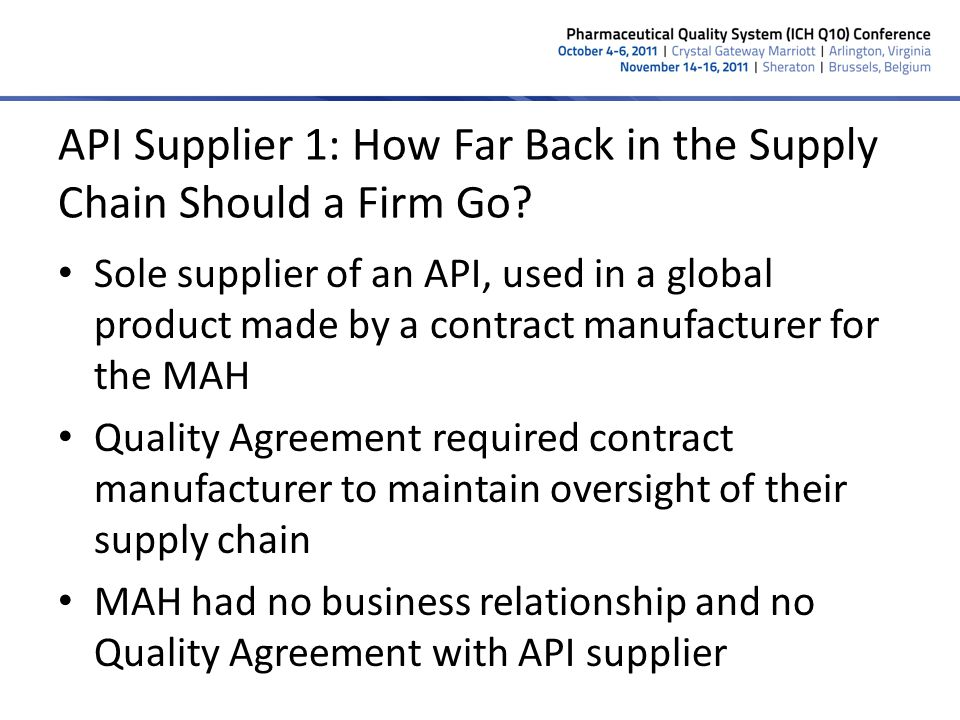 API Supplier 1: How Far Back in the Supply Chain Should a Firm Go