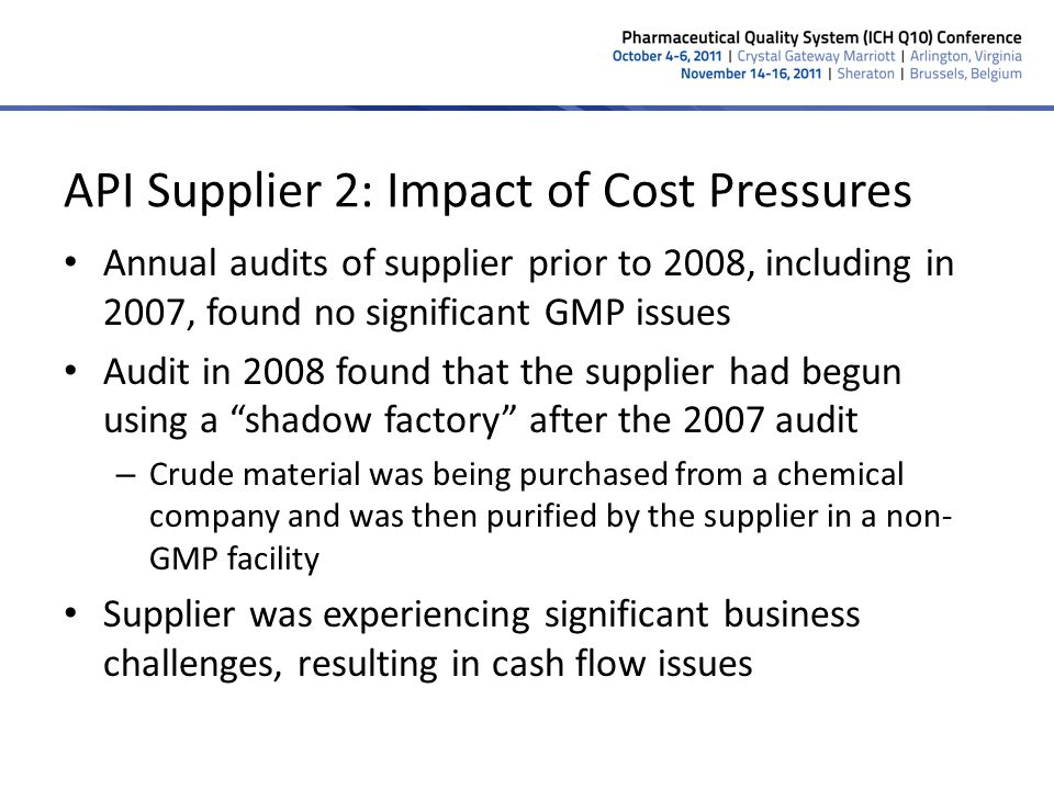 API Supplier 2: Impact of Cost Pressures