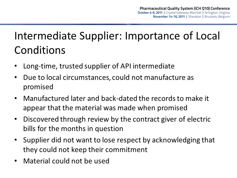 Intermediate Supplier: Importance of Local Conditions