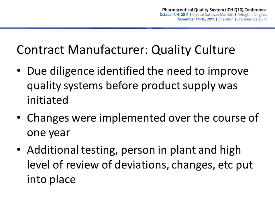 Contract Manufacturer: Quality Culture