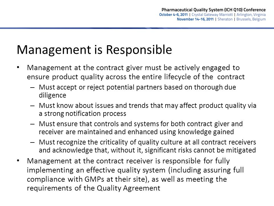 Management is Responsible